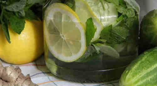 напиток с имбирем, огурцом и лимоном для похудения